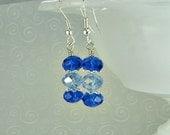 SALE' Crystal blue earrings, Swarovski crystals, sterling earwires.