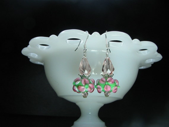 """Free"""" just pay for shipping for Swarovski light pink crystal with pink and green lampwork. Earrring have sterling earwires"""