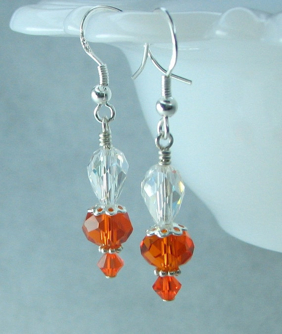 """SALE"""" Swarovski crystal earrings, sterling earwires, orange crystals."""