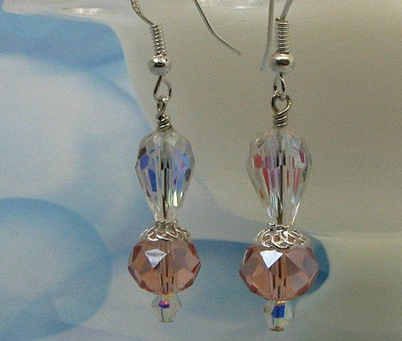 Swarovski crystal peach earrings, sterling silver earwires.and accents