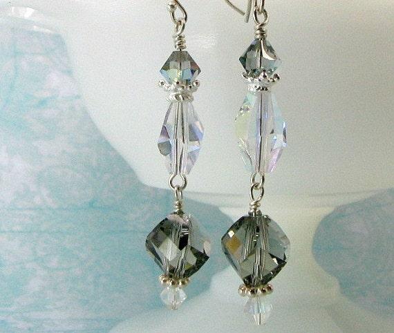 Black diamond earrings, Swarovski crystals, sterling ear wires.