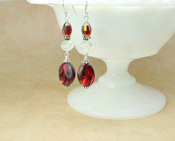 Red dyed abalone earrings , Swarovski crystals, sterling silver earwires .