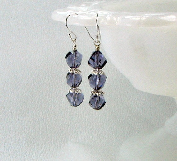Swarovski crystal purple earrings, sterling silver ear wires.and accents