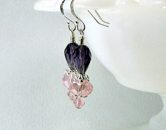 SALE' Swarovski crystal earrings, sterling earwires, pink and purple crystals.