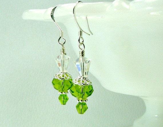 Green crystal earrings, Swarovski crystals, sterling silver earwires.