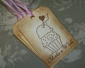 Ice Cream Cupcake Heart-Vintage Inspired-Birthday-Parties-Baked Goods-Treats-Set of 6 Tags-Choice of Ribbon Color