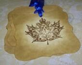 Ornate Maple Leaf - Vintage Inspired - Set of 5 Gift Tags