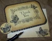 Elegant Butterfly Scroll - Thank You Cards - Vintage Inspired - Set of 10 - Weddings - Fleur de Lis