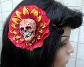 Lotus Flame - Sugar Skull Day of the Dead Flower Hair Clip Pinup Girl Fascinator in Red, Orange, Yellow
