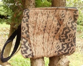 Wristlet Clutch- Vintage Black Velvet and Sepia Lace Overlay with Zipper Closure