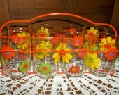 Set Of Eight Painted Daisy Juice Glasses With Carrier