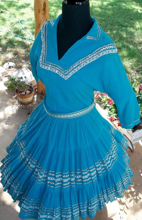 Turquoise Squaw,  Square Dance Dress  1950's  Two Piece