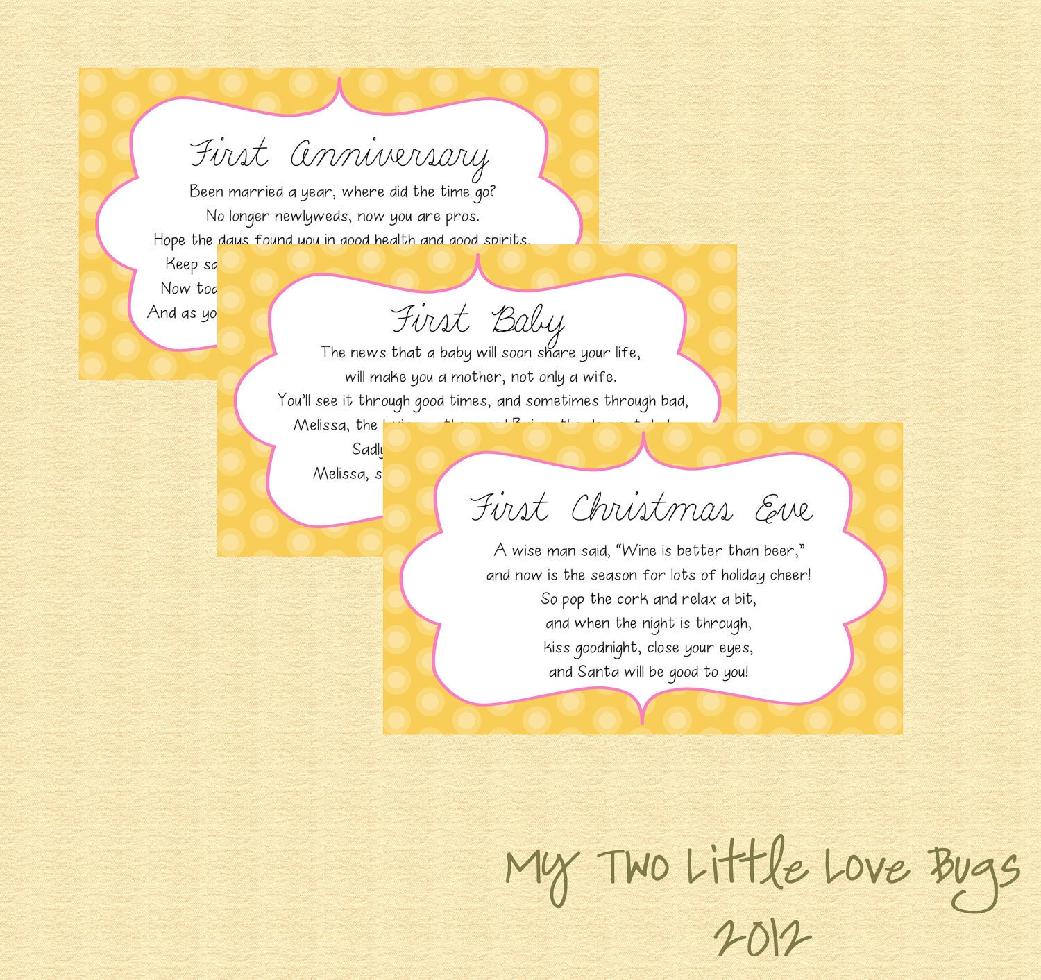 Baby Gift List Poem : Items similar to bridal shower wine basket poem tags gift