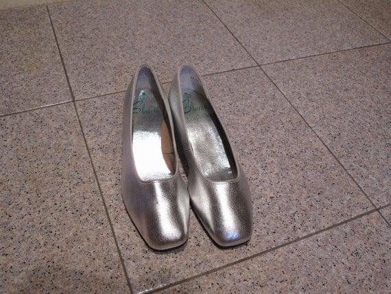 60s metallic silver ballet flats low heels pumps shoes dancer 7
