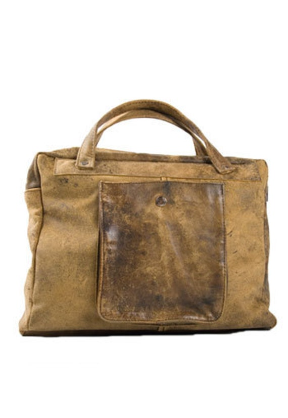 Recycled leather school bag.