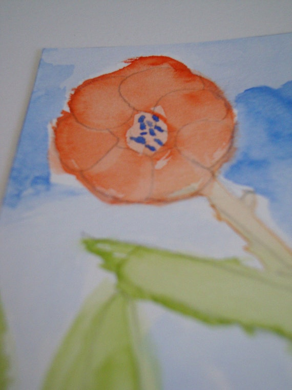 Poppy ACEO Original Watercolor Painting - 'Freedom'