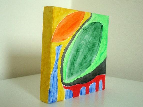 Original 4x4 Acrylic Canvas Painting -  'Heart's Deepen True' Home Decor