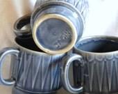 Set of 3 Vintage Japanese stacking mugs blue ceramic cups