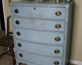 For EA Chic and Shabby Cottage Blue Tall Dresser / Chest of Drawers