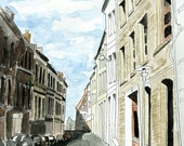 French Art Print French Street Scene No 3 - Pen and Ink and Watercolor 8 x 10 - matted 11 x 14