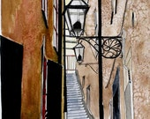 Swedish Art Print  Stockholm Alley Stairs Lamp Scene No 9 -  Pen and Ink and Watercolor 8 x 10