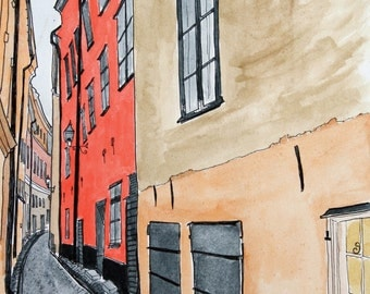Art Print Stockholm Alley Scene No 3-  Pen and Ink and Watercolor 8 x 10