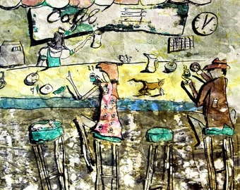 Primitive Art Print Josephine at the Cafe Pen and Ink and Watercolor 8 x 10 - matted 11 x 14