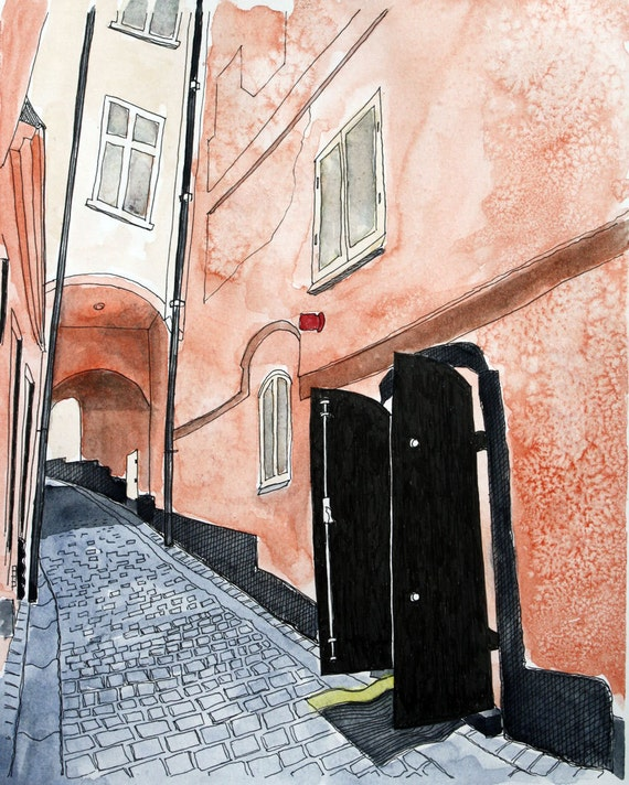 Fine Art Print Stockholm Pen and Ink and Watercolor -  8 x 10