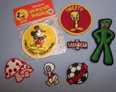 Vintage Collectible Patches or Appliques, Disney Mickey Mouse, Gumby, Tweety Bird, Lot of 7 FREE SHIPPING