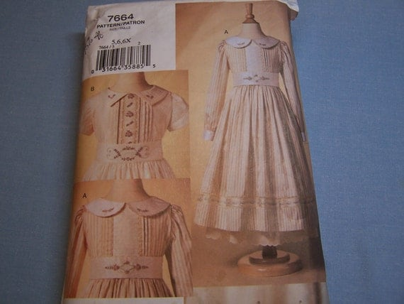 Beautiful Dress, Apron & Petticoat Pattern for a Little Girl--Vogue 7664 Smocking and Embroidery Size 5,6,6x