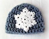 Snowflake Beanie Hat-Newborn to 6 Months-Ready to Ship