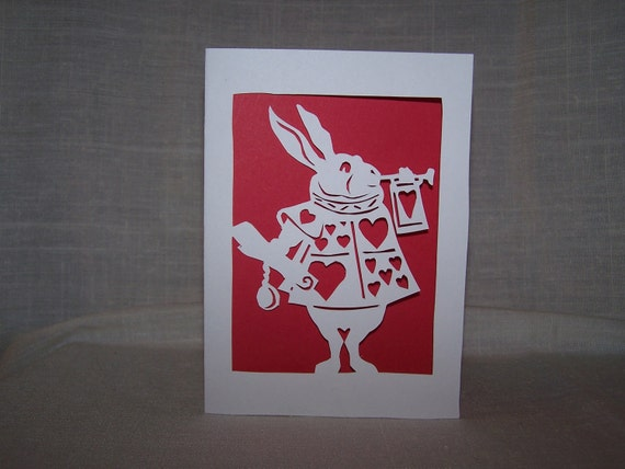 Vintage Alice - Handcut Paper Notecard of the White Rabbit