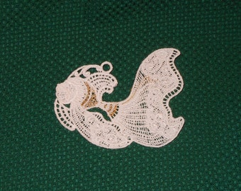 Lace Applique  - Fantail Fish with metallic highlights