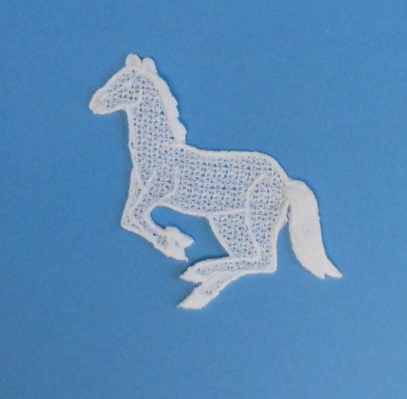 Lace Applique for Crafts or Crazy Quilt - Galloping Horse