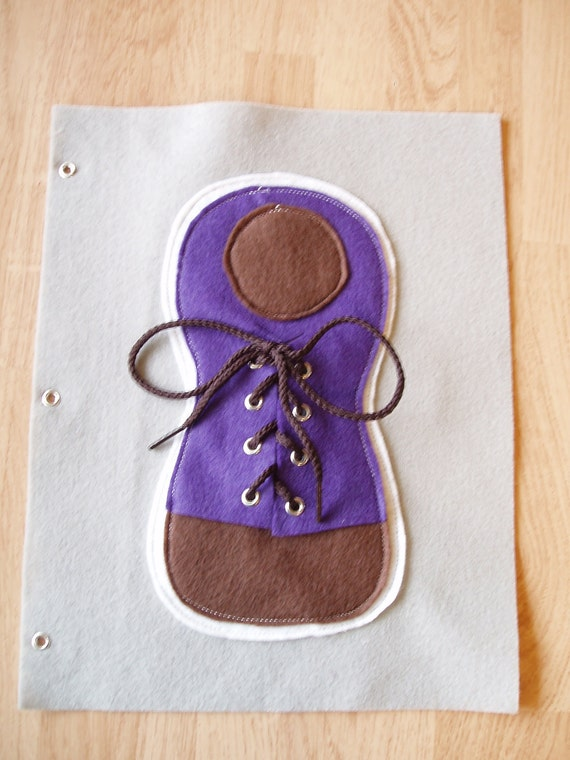 Tie the Shoe Quiet Book Felt Page Purple Age 3 and up