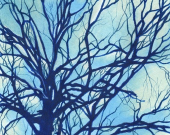 Drawing of A Tree Silhouette - Giclee Print of Original Art