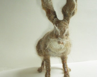 Hare textiles sculpture RESERVED not for sale