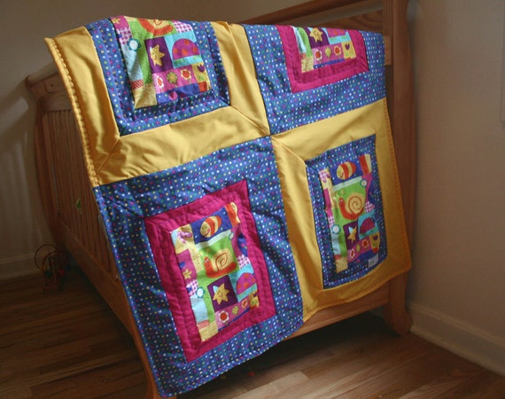 SALE - Large Cuddly Colorful Patchwork Dot Minky Blanket Quilt for Girl, 33x41, SALE