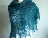 Teal Green hand knitted triangular kidsilk lace shawl / READY TO SHIP/