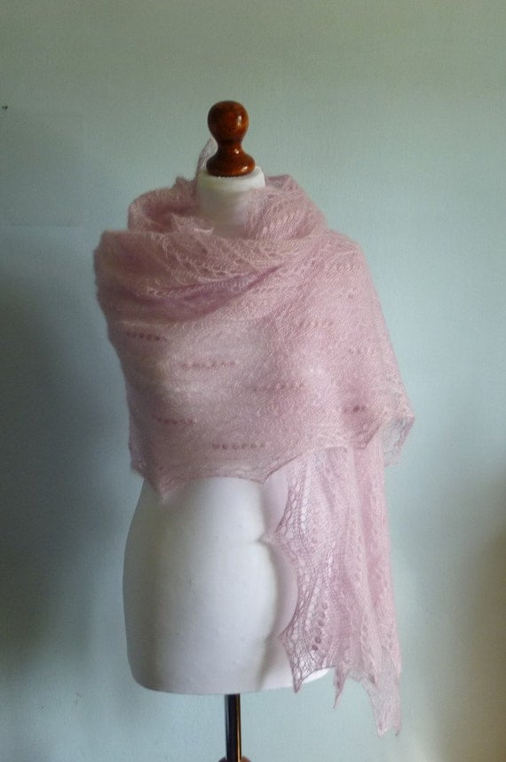 20% OFFLily Pink hand knitted lace stole, luxurious wedding shawl./READY TO SHIP/