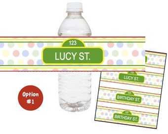 Sesame Street water bottle labels, Customized