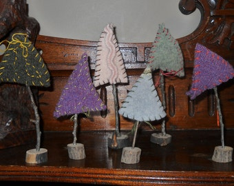 A grouping of six felted trees, mantle or table decor, upcycled wool,