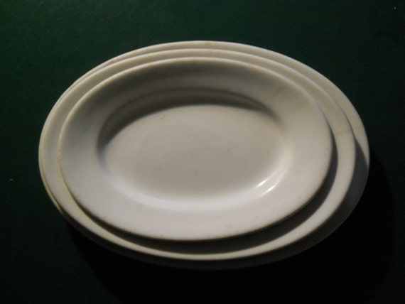 Vintage white ironstone platters set of three from the 1800's shabby chic Greenwood Trenton