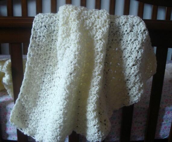 "Safer Crocheted Off White Large Soft Baby Crib Bassinet Blanket Afghan Throw 47"" Antique Ecru Cream Quality ROCKVALE MT Babys Breath New OBO"