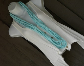 Crochet Infinity Scarf Necklace - Triple Play - Spring, Summer Fashion Accessory - Cool Aqua Blue