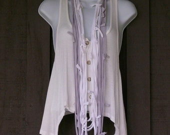 Upcycled, Repurposed, Recycled T-shirt Infinity Scarf, Necklace, White and Gray