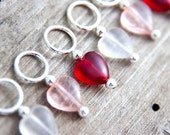 Snag Free Stitch Markers Glass Hearts, Pink, Red, Clear Set of 6, Romantic, Cute