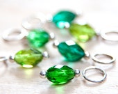 Snag Free Stitch Markers in Grass Green Spring Mix, Faceted Glass, Set of 6