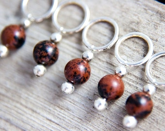 Snag Free Stitch Markers in Brown and Black Gemstone Set of 5, Mahogany Obsidian,