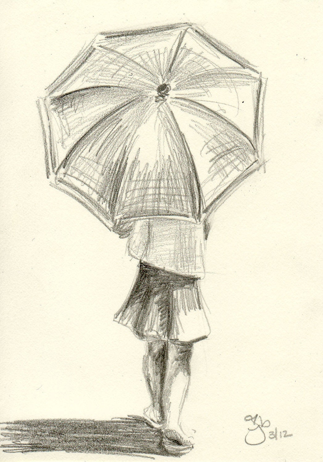Girl with umbrella 4x6 pencil study for Unique sketches